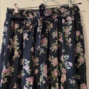 A&F Blue floral maxi skirt